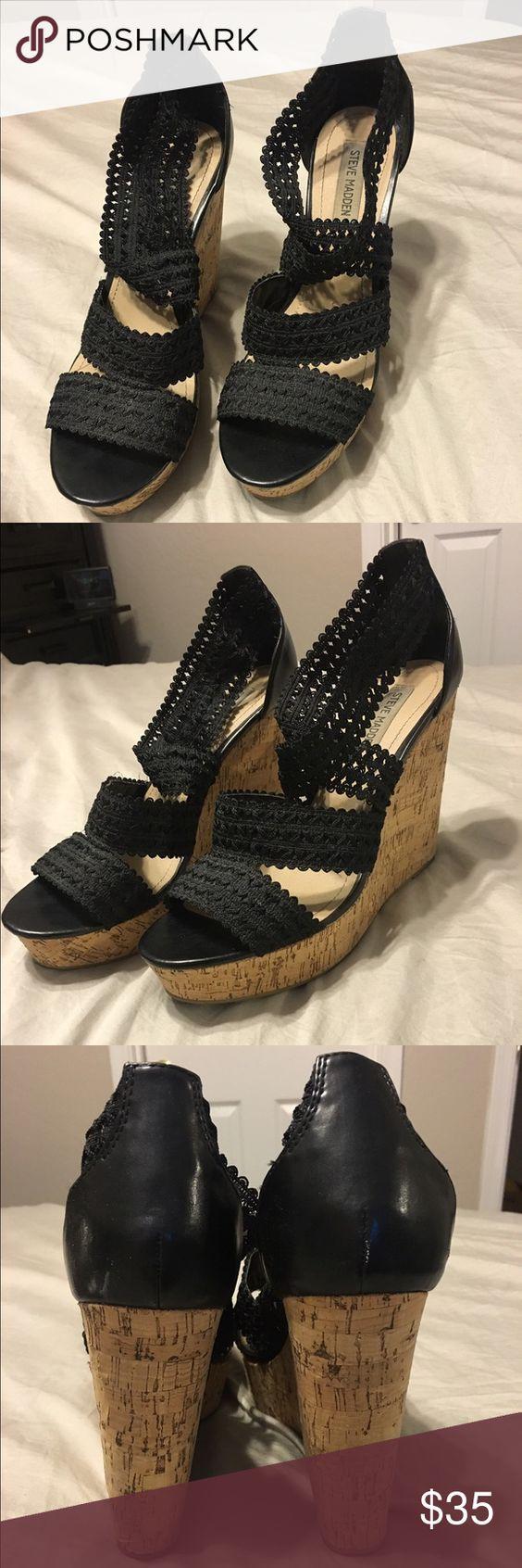 Steve Madden wedges Black crochet Steeve Madden wedges. Size 11. Worn 3x. Steve Madden Shoes Wedges
