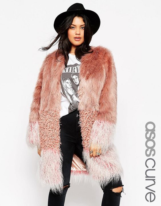 Image 1 of ASOS CURVE Coat in Patch Faux Fur