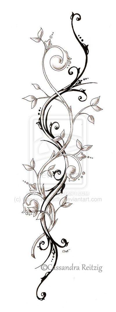 tendril tattoo, perfect spine tattoo idea
