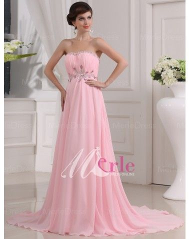 Chiffon Sweetheart Rhinestone Sweep/Brush Train Prom/Evening Dresses