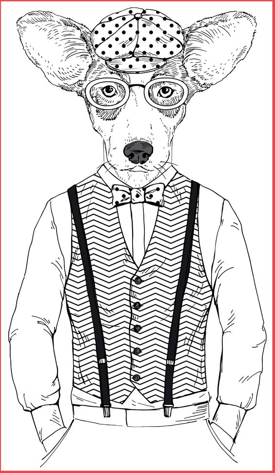 Dapper animals adult coloring books coloring pages Dapper animals coloring book