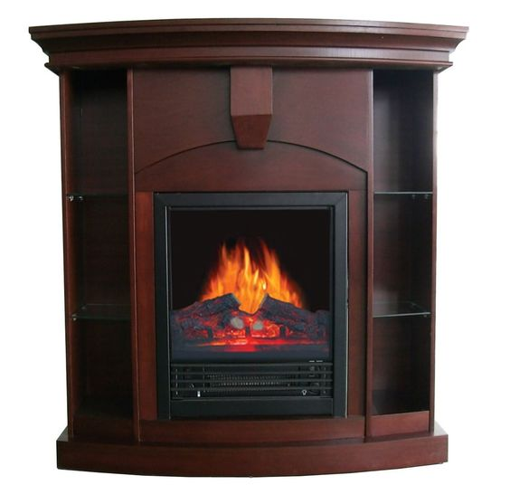 Corner Electric Fireplace Tv Stand Space Heater Cabinet Curio
