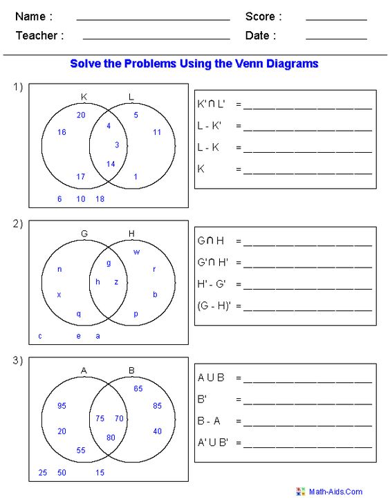 math worksheet : venn diagram worksheets  set notation problems using two sets  : Math Venn Diagram Worksheets