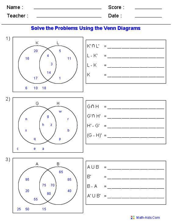 set notation  venn diagrams and worksheets on pinterest