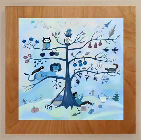 Tree of Life.   In our yard we have an autumn tree. Everyday it's different. Everyday it tells us it's stories about grand changes.  Archival hand finished print mounted on wood board. Approximately 10 inches by 10 inches, and usually a 1 inch border.   Piece comes ready to mount on the wall. A simple drawing included on the back of each piece.   These hand produced pieces are made individually so sizes are approximate. Custom sizes and originals are available.