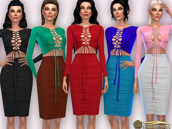 Harmonia's Lace-up Top/Midi Skirt Two-Piece Suit Dress