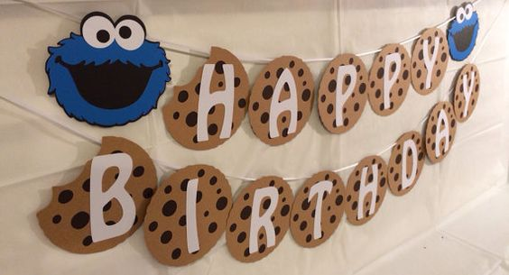"Sesame Street Cookie Monster Milk and Cookie ""HAPPY BIRTHDAY"" Banner"