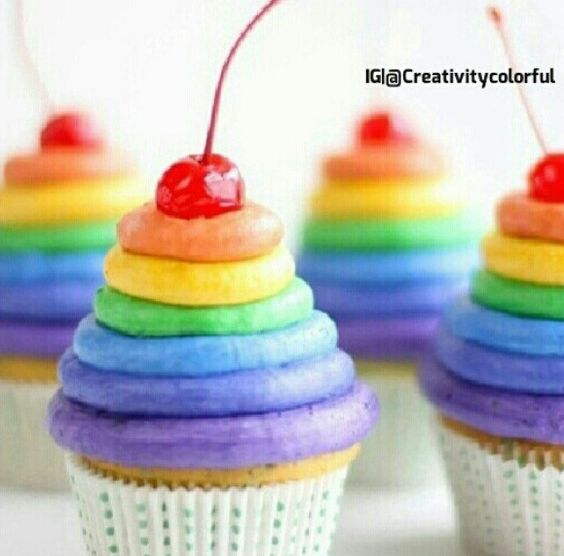 {Rainbow Mountain}  #amazingcupcakerecipes My mom makes cupcakes similar to these and they are super good!