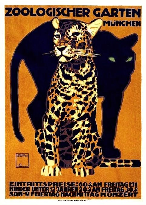 Ideal Vintage Zoo Poster by Ludwig Hohlwein M nchen Germany POSTERS AND PRINTS AFICHES Y DISE O GR FICO Pinterest Vintage posters