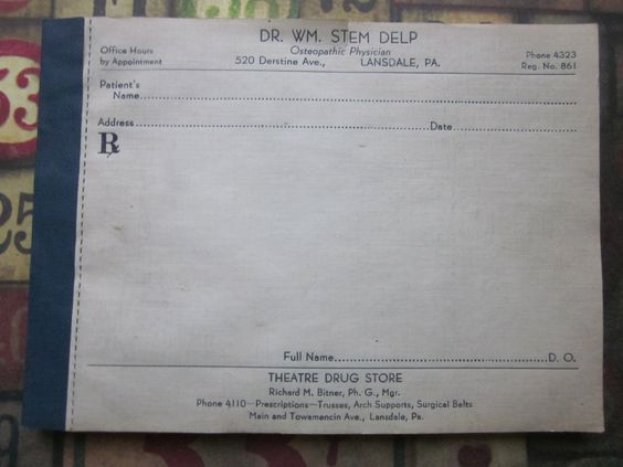 Vintage Doctor's Prescription Pad   Vintage and Doctors