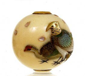 Japanese Ivory Ojime Netsuke Shibayama Bird Sg