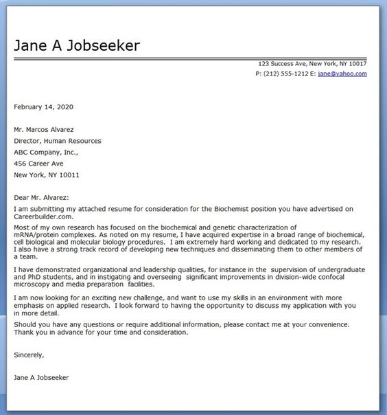 Biochemistry Cover Letter Example Creative Resume Design - careerbuilder resume