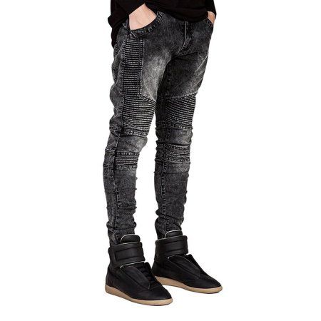 New Designer Men's Fashion Ripped Jeans Pants Men Slim Fit Light Blue Hole Denim Joggers Male Distressed Destroyed Casual Denim Jeans Pants Trousers @