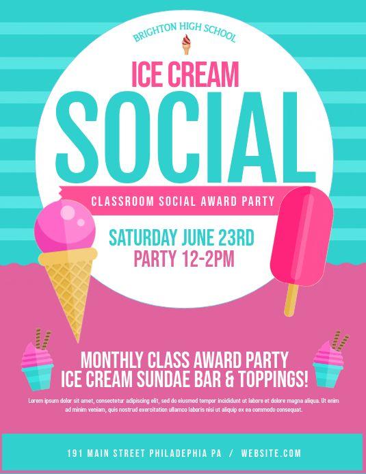 Ice Cream Social Ice Cream Social Event Flyer Templates Ice Cream Poster