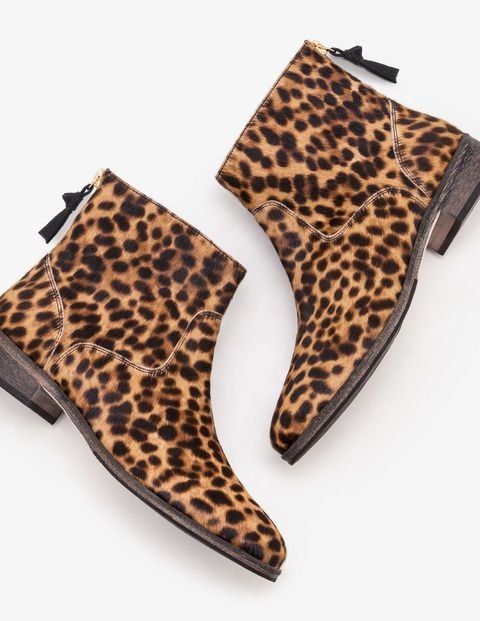 leopard print flat booties
