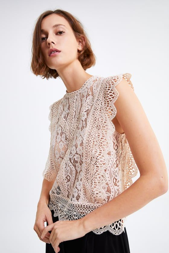 Lace top   Zara lace top, Lace tops, Lace