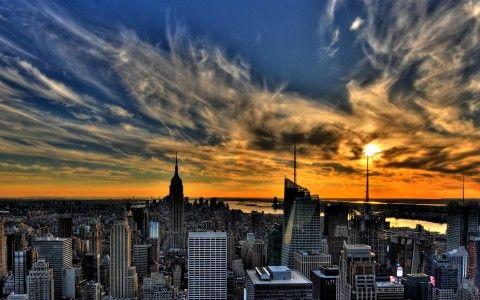 Sunset, New york, Evening