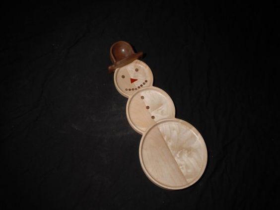 Custom Wood Handmade Serving Plater Snowman