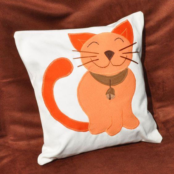 Orange cat, decorative pillow, cat pillow, happy cat, kids room decor, baby room, funny pillow ...