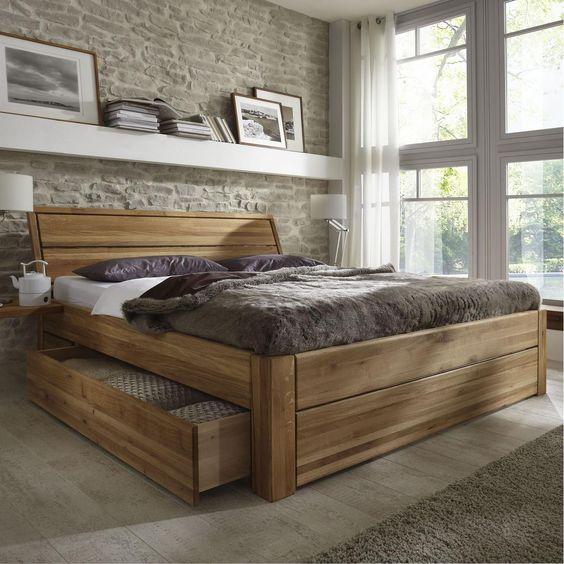 Massivholz Schubladenbett 180x200 Holzbett Bett Eiche massiv geölt ...