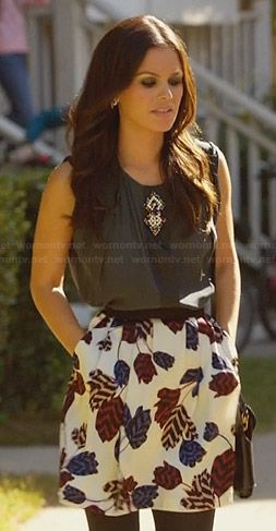 Zoe's leaf print skirt and bead detail top on Hart of Dixie.  Outfit Details: http://wornontv.net/23480/ #HartofDixie