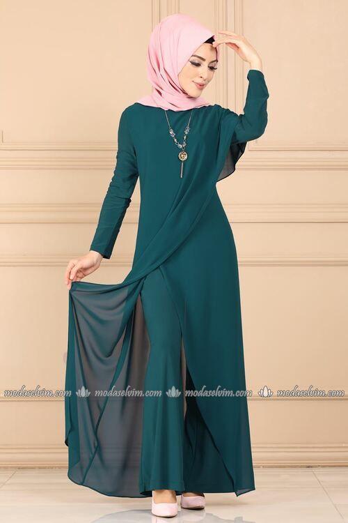 Modaselvim Tulum Verev Kesim Kolyeli Tulum 2146ms212 Petrol Pakaian Wanita Model Pakaian Pakaian Islami