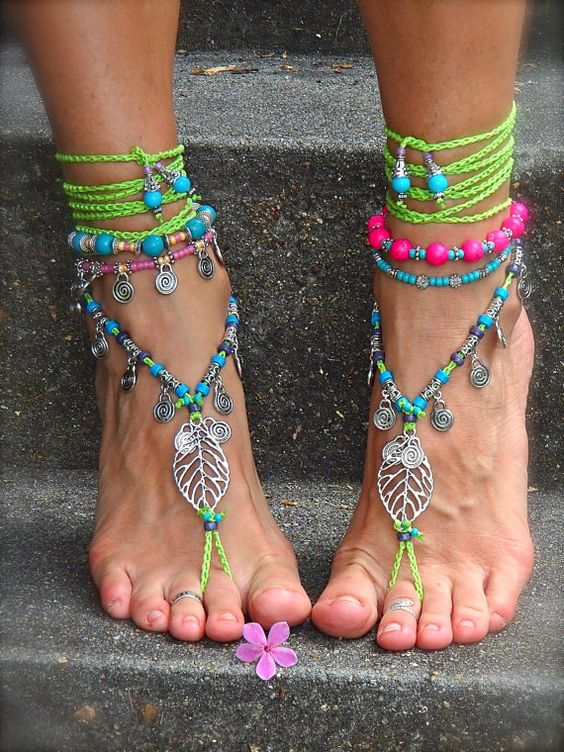 NEON green BAREFOOT sandals LEAF Pink Bikini jewelry Ibiza Summer Toe anklets Woodland Fairy Anklet Sandal Gypsy Crochet sandals GPyoga
