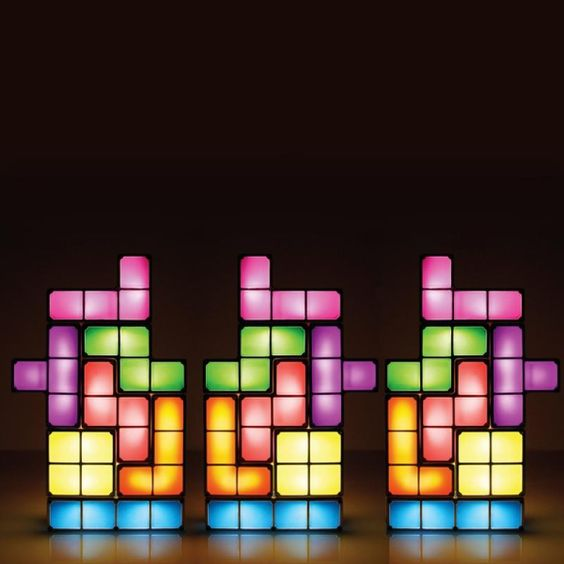 The Perfect Gift For Your Gamer Friends Tetris Diy Constructible Retro Game Style Stackable Led Desk Lamp Is An Amazing Led Desk Lamp Retro Lamp Retro Gaming