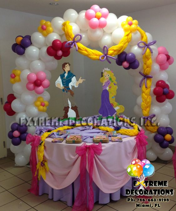 Rapunzel birthday party ideas of rapunzel tangled cake for Balloon decoration for kids birthday party