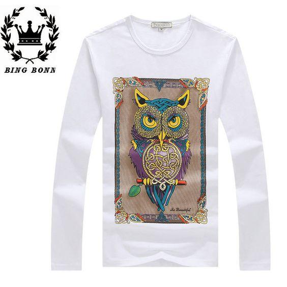 Homens T-Shirts Preto Branco coreano Moda Estilo de ginástica completo manga O-Neck Tops Rocha Tees impressão Hip Hop EUA Tamanho SML XL XXL Bing