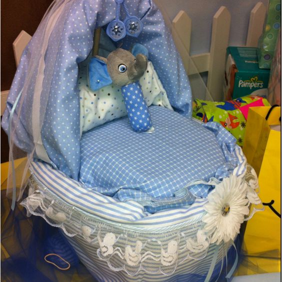 Baby Bassinet made of diapers & receiving blankets