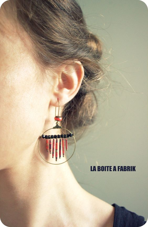 """Boucles d'oreille ethniques panache """"APURVA"""" - Création 2015 : Boucles d'oreille par laboiteafabrik"""