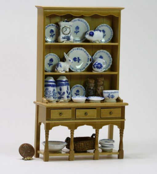 PORCELAIN 3 Piece Cabinet Display Set ~Dollhouse~ England ~ 1:12 scale ~Marked