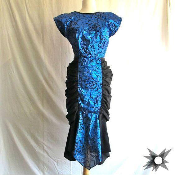 Vintage 1980's does 1940's Metallic Blue and by SatelliteVintageCo