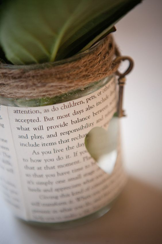 Literary theme book page floral arrangment