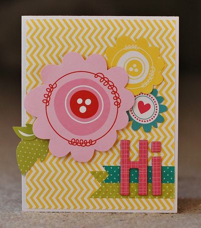 """Hi"" card, by Deanna Misner.: Cards Galore, Scrapbooking Cardmaking, Crafty Hearty, Card Making, Card Catalouge, Paper Crafts, Craft Ideas, Blvd Cards, Stamping Cards"