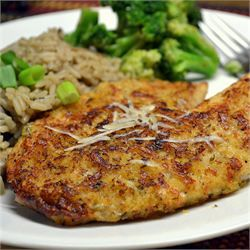 Parmesan Crusted Tilapia Fillets-I'm actually making this for myself tonight. If you go to this site you can adjust the serving size. Also you can get bags of frozen tilapia for pretty cheap.