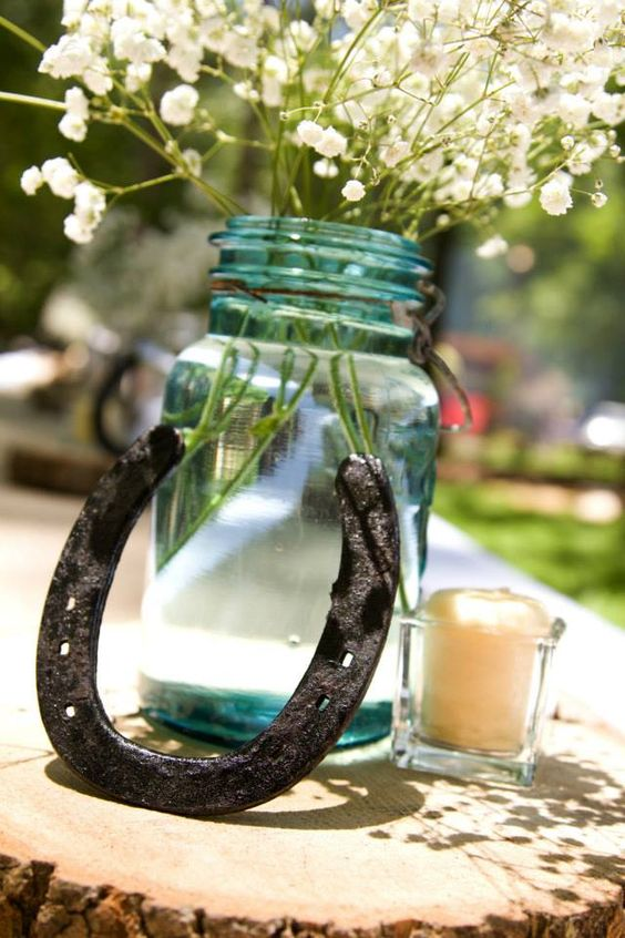 Blue mason jar baby s breath horse shoe clear votive wood