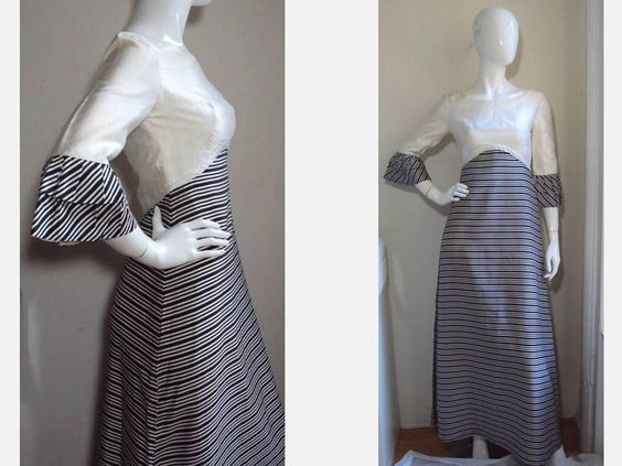 DONERICA MAYFAIR W.1. VINTAGE 1960's SILK MOD NEW LOOK STRIPED GOWN LONG DRESS 2