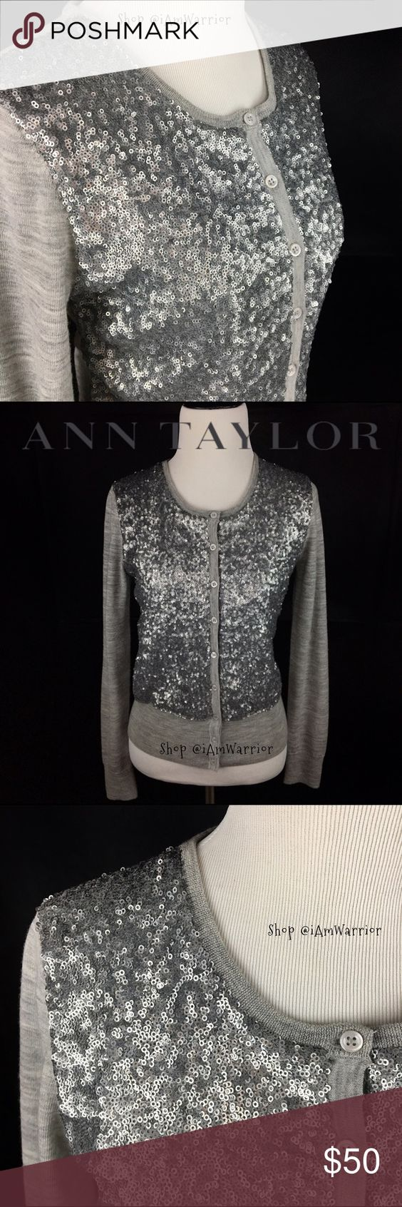 Ann Taylor gray cardigan with silver sequins Gorgeous Ann Taylor heather gray cardigan has tint circular sequins on the front with solid sleeves and back. Front button closure. Excellent condition. Pair this over a little black dress or with some skinny jeans. Ann Taylor Sweaters Cardigans