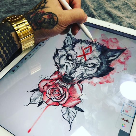 Wolf with Red rose Tattoo