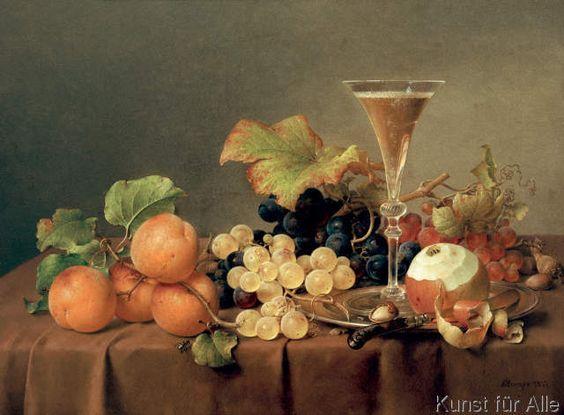 Johann Wilhelm Preyer - Früchtestilleben mit Sektglas