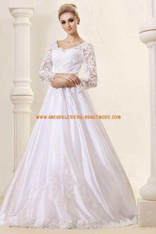 Wunderschöne Brautkleider mit Spitze und Satin Ärmel mit Schleppe