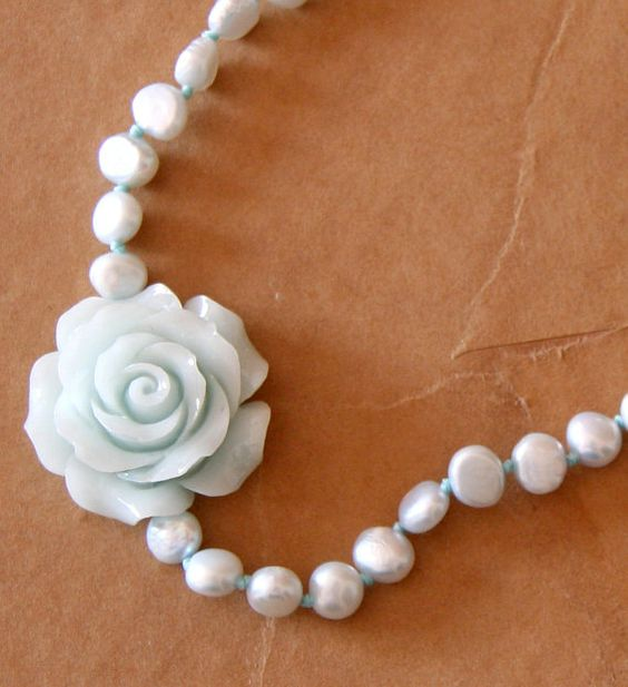 Soft blue rose necklace Pearls necklace Shabby chic by Rozmari, $42.00
