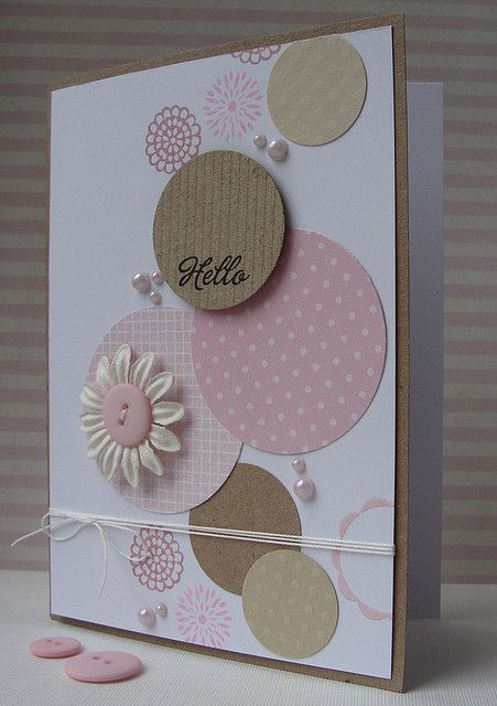 handmade card ... stream of circles bubbles up the page .. pinks and kraft on white .. like the variety of circles from patterned papers to daisy to pearls to scalloped edging ... delightful!!!: