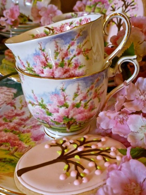 Pink Trees And Cherry Tea Tea Cups Tea Cups Vintage Cherry Tea