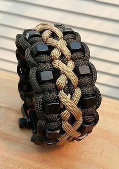 Custom Stitched Hex Nut Paracord Bracelet With Two Black