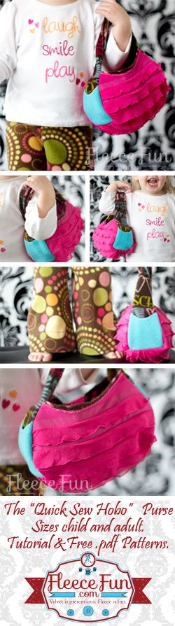 Quick Sew Hobo Bag - Free pattern for Kids or Adult size and step by step Photo tutorial - Bildanleitung und gratis Schnittvorlage für Kind oder Erwachsenen Grösse
