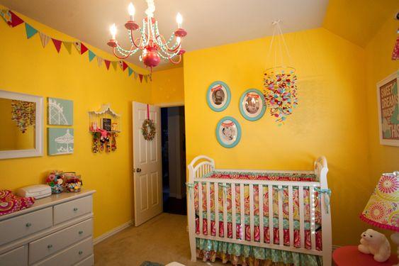 Yellow, cheery nursery with bright accents: Nursery Idea, Wall Color, Garden Fabrics, Baby Room