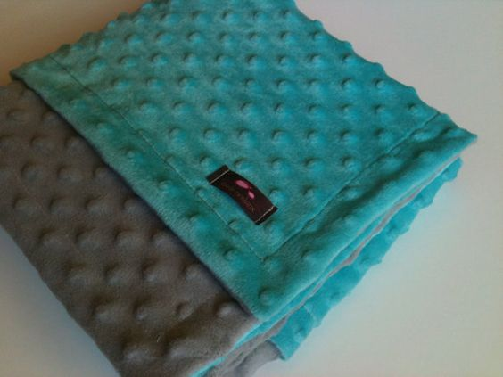 Minky Blanket Gray and Aqua Blue 35 x 30 by Essiedesigns on Etsy, $26.99